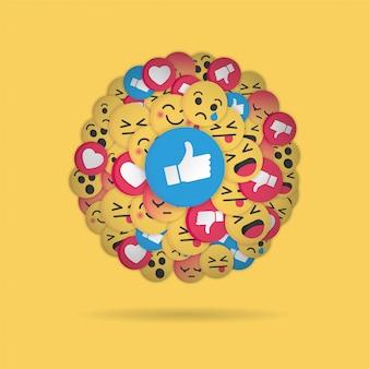 Nowoczesny wzór emoji na żółtym tle
