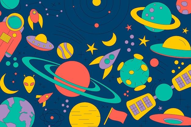 Nowoczesny wzór planety, gwiazdy, komety, z różnymi rakietami. rysunki liniowe wszechświata. kosmos. modne znaki kosmiczne, konstelacja, księżyc. doodle styl, ikona, szkic. na ciemnym tle.