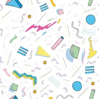 Nowoczesny wzór streszczenie styl memphis. bezszwowa tekstura z geometrycznymi kształtami. kolorowa ilustracja.