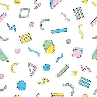 Nowoczesny wzór streszczenie styl memphis. bezszwowa tekstura z geometrycznymi kształtami. kolorowa ilustracja