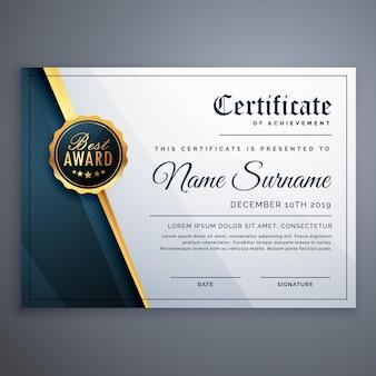 Nowoczesny wzór szablonu certyfikatu Premium nagroda