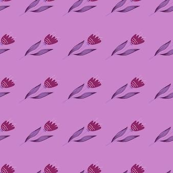Nowoczesny wzór wildflower na fioletowym tle.