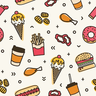 Nowoczesny wzór z fast foodami. kolorowe tło z różnymi posiłkami - lody, burger, pączki, frytki, hot dog, smażony kurczak. ilustracja do pakowania w papier, druk na tekstyliach