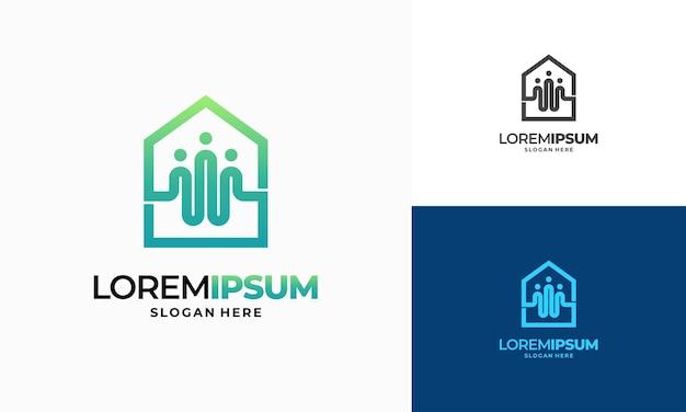 Nowoczesny zarys logo społeczności nieruchomości projektuje wektor koncepcyjny, szablon logo społeczności nieruchomości