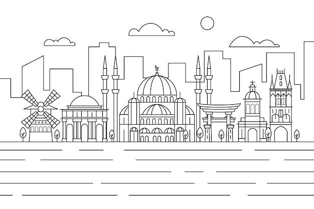 Nowoczesny zarys zabytków panoramę