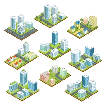 Nowoczesny zestaw 3d izometryczny centrum miasta