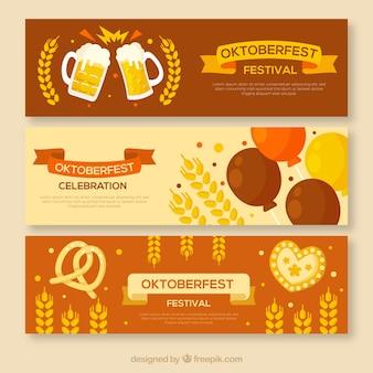 Nowoczesny zestaw banerów oktoberfest