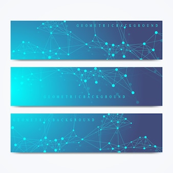 Nowoczesny zestaw banerów wektorowych. geometryczna prezentacja abstrakcyjna. tło cząsteczki dna i komunikacji dla medycyny, nauki, technologii, chemii. kropki cybernetyczne. splot linii.