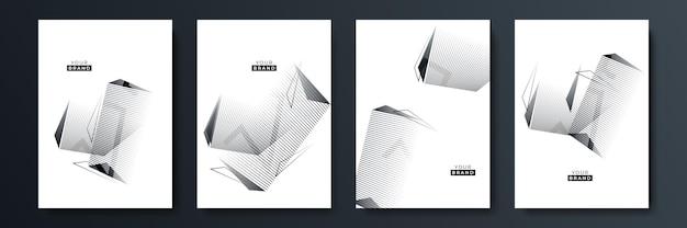 Nowoczesny zestaw do projektowania okładek z czarnym paskiem. luksusowy kreatywny wzór białej dynamicznej linii ukośnej. formalne tło wektor premium dla broszury biznesowej, plakatu, notatnika, szablonu menu