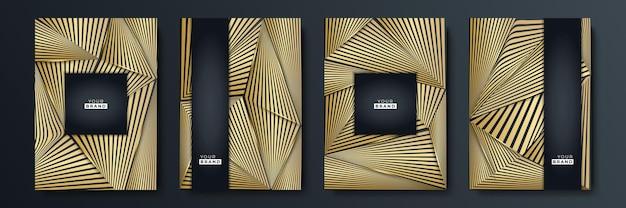 Nowoczesny zestaw do projektowania okładek z czarnym paskiem. luksusowy kreatywny złoty dynamiczny wzór linii ukośnej. formalne tło wektor premium dla broszury biznesowej, plakatu, notatnika, szablonu menu