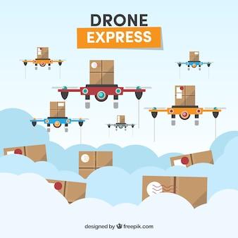 Nowoczesny zestaw dronów dostawczych
