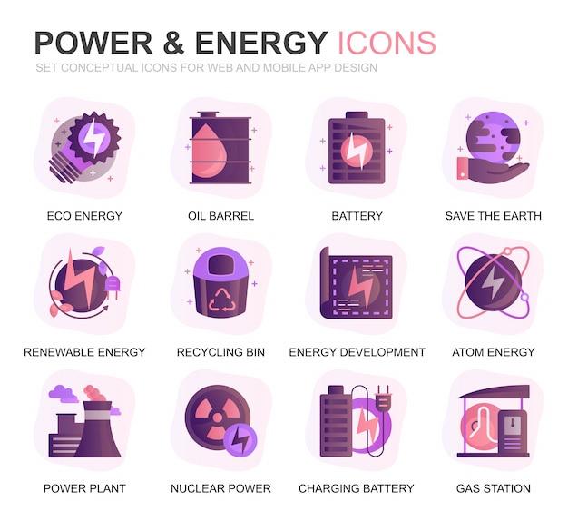Nowoczesny zestaw energetyki i energii gradientu płaskie ikony