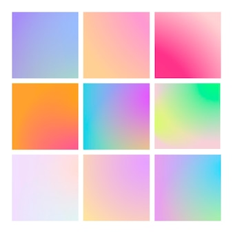 Nowoczesny zestaw gradientowy z kwadratowym abstrakcyjnym tłem. kolorowe płynne okładki na kalendarz, broszury, zaproszenia, karty. modny delikatny kolor. szablon z nowoczesnym zestawem gradientów dla ekranów i aplikacji mobilnej