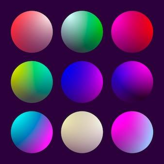 Nowoczesny zestaw gradientu 3d z okrągłymi abstrakcyjnymi tłami. kolorowe płynne okładki na kalendarz, broszury, zaproszenia, karty. modny delikatny kolor. szablon z okrągłym gradientem dla ekranów i aplikacji mobilnej