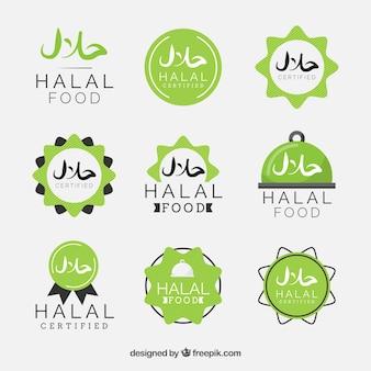 Nowoczesny zestaw halal etykiety żywności z płaskiej konstrukcji