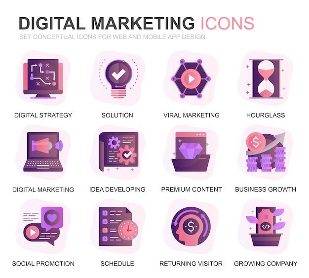 Nowoczesny zestaw ikon biznesowych i marketingowych gradientu płaski