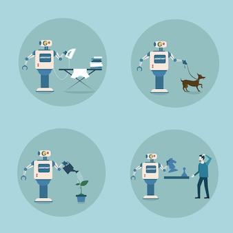 Nowoczesny zestaw ikon robota futurystyczny mechanizm sztucznej inteligencji technika sprzątania