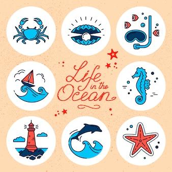 Nowoczesny zestaw ilustracji podwodnego życia.
