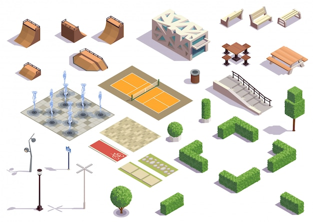 Nowoczesny zestaw izometryczny parku miejskiego z rekreacją na deskorolce jazda na rowerze, tenis, ławki, latarnie, fontanny, rośliny