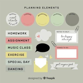 Nowoczesny zestaw kolorowych elementów planistycznych