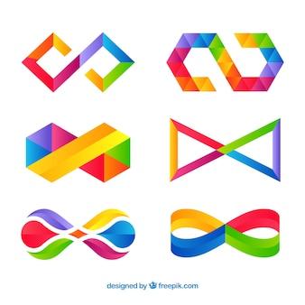 Nowoczesny zestaw kolorowych nieskończoności symboli