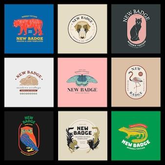 Nowoczesny zestaw linorytu z odznaką dla zwierząt, edytowalny szablon