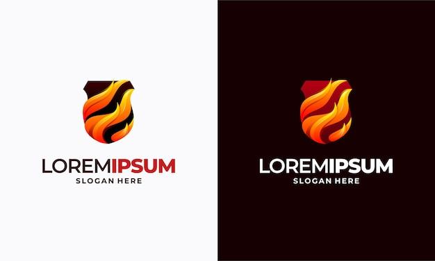Nowoczesny zestaw logo fire shield