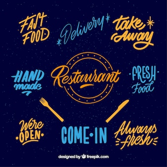 Nowoczesny zestaw odznak restauracji