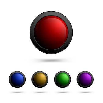 Nowoczesny zestaw okrągłych szklanych przycisków