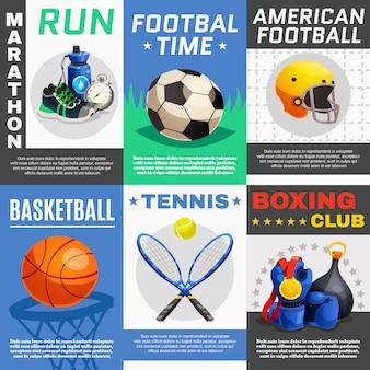 Nowoczesny zestaw plakatów sportowych