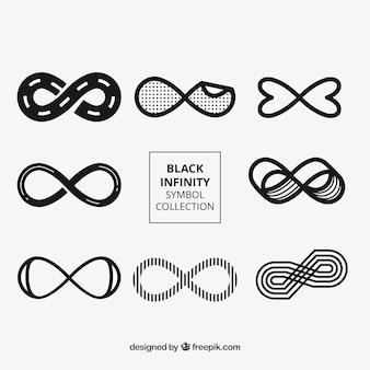 Nowoczesny zestaw symboli nieskończoności w kolorze czarnym