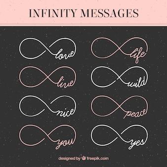 Nowoczesny zestaw symboli nieskończoności ze słowami