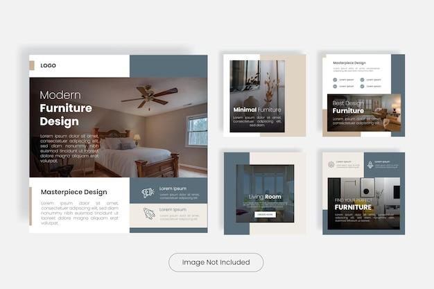 Nowoczesny zestaw szablonów do projektowania mebli w mediach społecznościowych