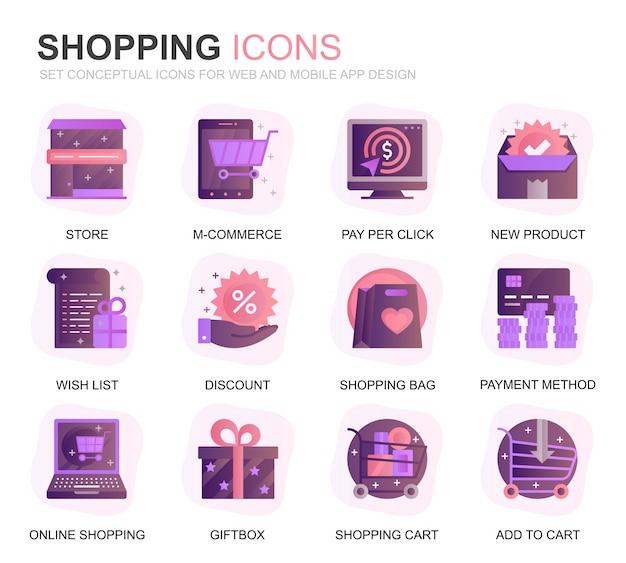 Nowoczesny zestaw zakupy i ikony płaskie gradientu e-commerce