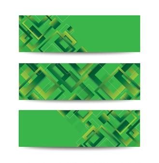 Nowoczesny zielony kwadratowy modny gradientowy baner