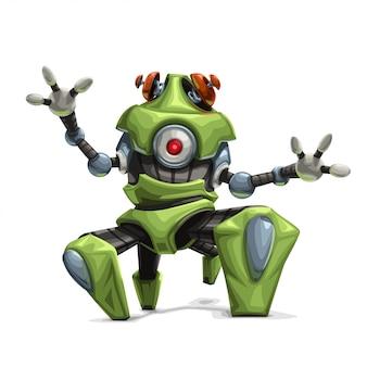 Nowoczesny zielony robot z czterema nogami