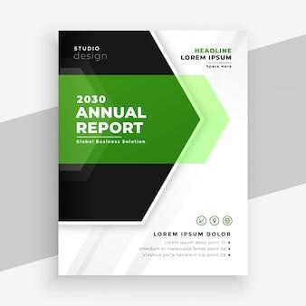 Nowoczesny zielony roczny raport biznes szablon ulotki