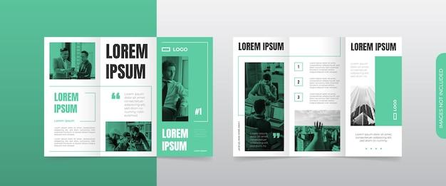 Nowoczesny, zielony, trójdzielny układ broszury