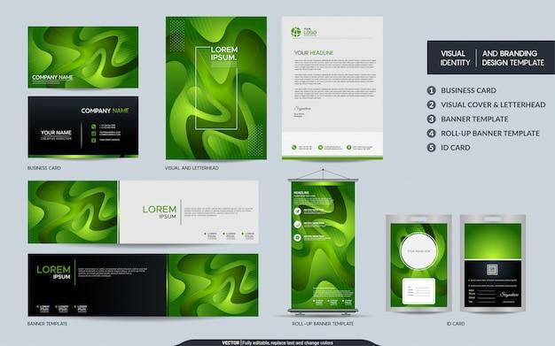 Nowoczesny zielony zestaw papeterii i wizualna tożsamość marki z abstrakcyjnym, kolorowym, dynamicznym kształtem tła.