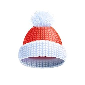 Nowoczesny zimowy kapelusz dzianiny płaski piktogram