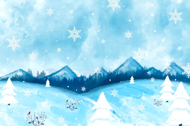 Nowoczesny zimowy krajobraz tła