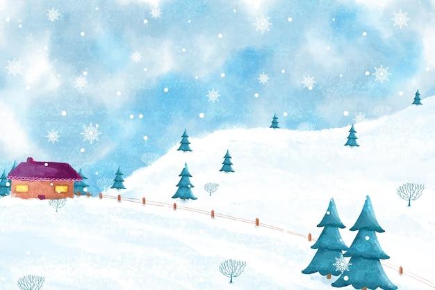 Nowoczesny zimowy krajobraz