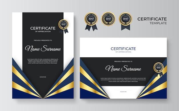 Nowoczesny złoty czarny certyfikat