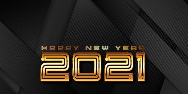 Nowoczesny złoty i czarny projekt transparentu na nowy rok
