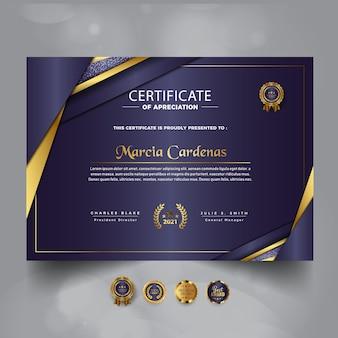 Nowoczesny złoty luksusowy certyfikat szablonu osiągnięć