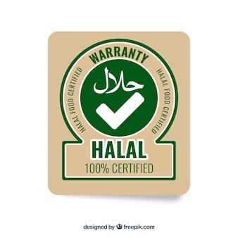 Nowoczesny znaczek halal o płaskiej konstrukcji