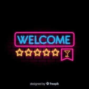 Nowoczesny znak powitalny z neon light style