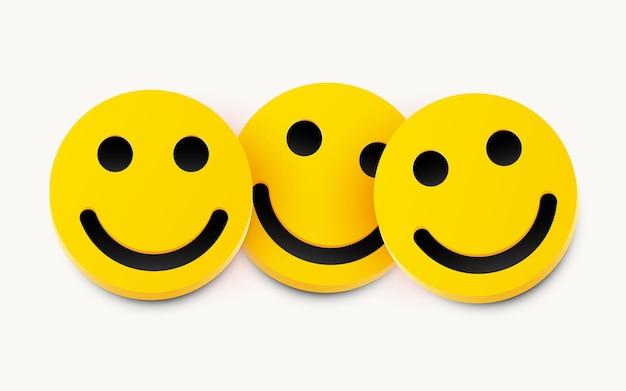 Nowoczesny żółty śmiech z trzema uśmiechami.