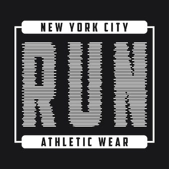 Nowojorska grafika typograficzna do biegania nadruk na projekt koszulki sportowej odzieży biegowej