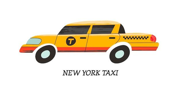 Nowojorska żółta taksówka. ilustracja wektorowa.